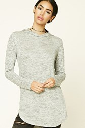 Forever 21 Marled Knit Hoodie Top Heather Grey