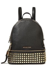 Michael Michael Kors Woman Studded Pebbled Leather Backpack Black