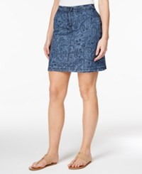 Karen Scott Paisley Print Denim Skort Only At Macy's Chambray