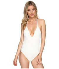 Polo Ralph Lauren Sahara Engineered Crochet Plunge X Back One Piece Cream Women's Swimsuits One Piece Beige