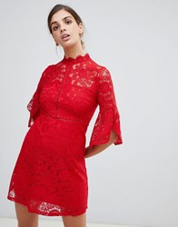 Qed London 3 4 Sleeve Lace Dress Red