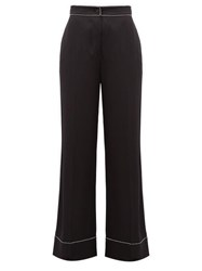 Burberry Crystal Trimmed Wide Leg Silk Trousers Black