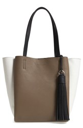 Vince Camuto Small Nylan Leather Tote Grey Foxy Vaporous Grey