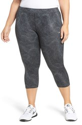 Nike Plus Size Women's Power Essential Crop Running Tights Black Reflective Silver