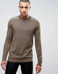 New Look Jumper In Mid Brown With Patch Detail Mid Brown