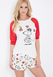 Forever 21 Snoopy Graphic Baseball Tee Cream Red