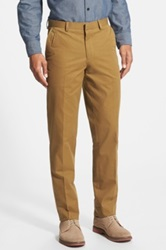 Wallin And Bros Flat Front Twill Trousers Brown