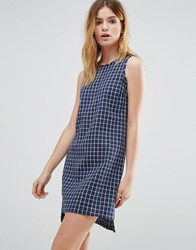 Native Youth Crosshatch Tent Dress Blue White
