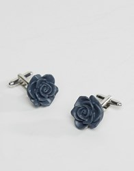Asos Rose Bud Cufflinks In Navy Navy