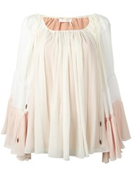 Chloe Colour Block Drawstring Blouse Nude Neutrals