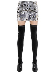 Sonia Rykiel Metallic Eyelets Mirror Leather Skirt