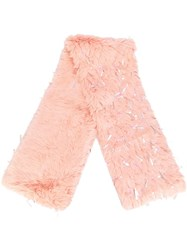 Ashish Furred Beaded Scarf Pink Purple