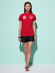 Shanghai Tang 8 Floral Embroidery Cotton Pique Polo Shirt Red