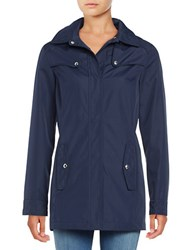 Weatherproof Quilt Accented Hooded Jacket Navy
