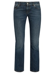 Alexander Mcqueen Mid Rise Cropped Kick Flare Jeans Blue