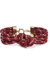 Isabel Marant Everest Braided Cord Gold Tone Bracelet Burgundy