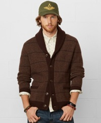 Denim And Supply Ralph Lauren Plaid Shawl Collar Cardigan Brown Multi