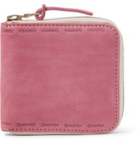 Visvim Nubuck Zip Around Wallet Pink