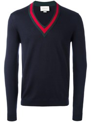 Gucci Web Trim V Neck Jumper Blue