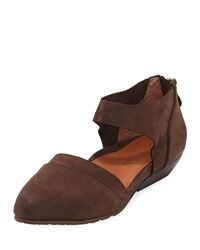 Gentle Souls Noreen Nubuck D'orsay Flat Dark Brown