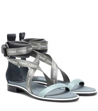 Chloe Veronica Leather Trimmed Sandals Green