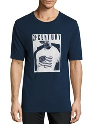 Blk Dnm Graphic Print Cotton Tee Navy