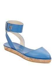 Alice Olivia Reese Leather Ankle Strap Platforms Umbrella Blue