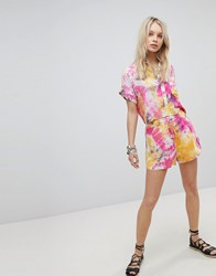 Kiss The Sky Frill Hem Shorts In Tie Dye Co Ord Multi