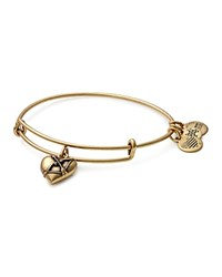 Alex And Ani Cupid's Heart Charm Expandable Wire Bangle Gold