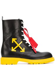Off White Contrast Sole Lace Up Boots Black