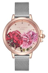Ted Baker London Mesh Strap Watch 36Mm Silver Printed Rose Gold