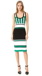 Prabal Gurung Sleeveless Knit Dress Black White Fern