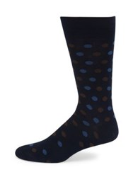 Saks Fifth Avenue Collection Two Tone Polkadot Socks Navy Black