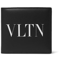 Valentino Garavani Logo Print Leather Billfold Wallet Black