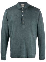 Massimo Alba Long Sleeve Polo Shirt Blue