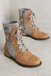 Anthropologie Sorel Major Carly Lace Up Boots Brown