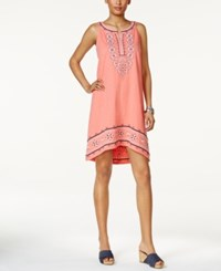 Style And Co Embroidered High Low Dress Only At Macy's Moroccan Coral