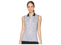 Callaway Sketchy Floral Print Sleeveless Polo Peacoat Blue