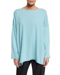 Eskandar Long Bateau Neck Cashmere Sweater Aqua