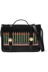 Olympia Le Tan Victoire Mini Embellished Cotton Canvas And Leather Shoulder Bag Black