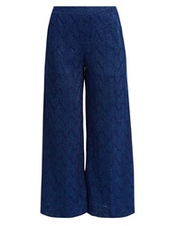 Missoni Cropped Wide Leg Knit Trousers Navy