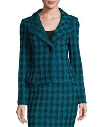 St. John Double Knit Houndstooth Blazer Blue Black
