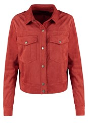 Evenandodd Faux Leather Jacket Red Ochre