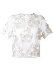 Cacharel Sheer Embroidered Top White