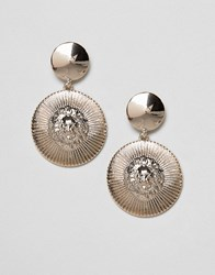 Missguided Lion Disc Drop Earring Gold