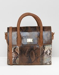 Urbancode Mini Tote Bag With Optional Shoulder Strap In Multi Faux Snakeskin Br1 Brown 1