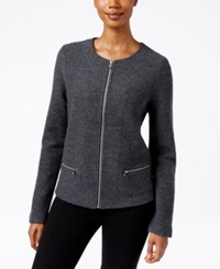 Charter Club Wool Zip Front Cardigan Only At Macy's Charcoal Heather