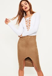 Missguided Brown Faux Suede Extreme Split Front Midi Skirt Rust