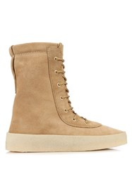 Yeezy Crepe Sole Lace Up Suede Boots Beige