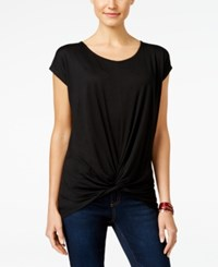 Inc International Concepts Short Sleeve Twist Front Top Only At Macy's Deep Black